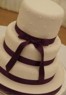 Purple Ribbon Piped Pearls