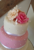 Ivory & Pink Rose & Butterfly