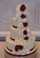 Ivory & Burgundy Rose Cascade