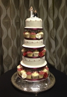 Tiered & Cupcakes with Piped Detail