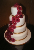 Burgundy Gold Leaf Rose Cascade